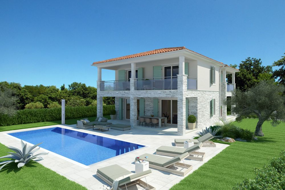 Beautiful villa with sea view pool and summer kitchen Novigrad Istria Croatia for sale_01 LR Pool