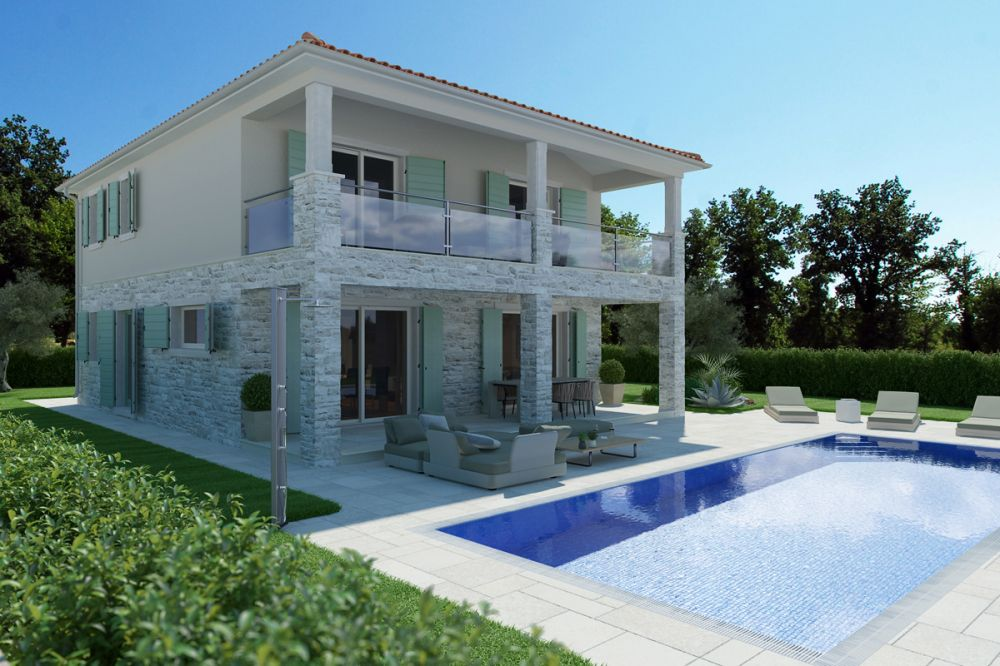 Beautiful villa with sea view pool and summer kitchen Novigrad Istria Croatia for sale_03 LR Pool von Nord