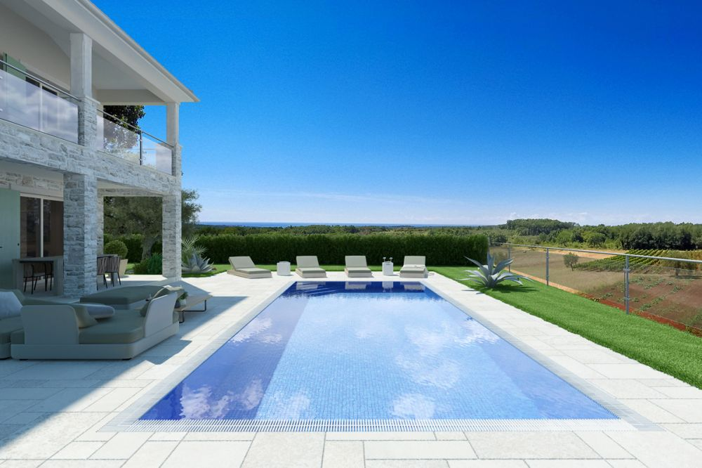 Beautiful villa with sea view pool and summer kitchen Novigrad Istria Croatia for sale_04 LR Pool mit Meerblick